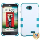 LG Optimus L70 Ivory White/Tropical Teal Hybrid Phone Protector Cover