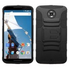 Motorola Nexus 6 Black/Black Advanced Armor Stand Protector Cover