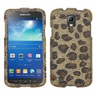 Samsung Galaxy S4 Active SGH-i537 Leopard Skin/Camel Diamante Protector Cover