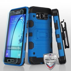Samsung Galaxy On5 Blue/Black 3-in-1 Storm Tank Hybrid Case Combo with Black Holster and Tempered Glass Screen Protector