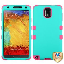 Samsung Galaxy Note 3 Rubberized Teal Green/Electric Pink Hybrid Case
