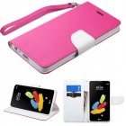 LG G Stylus 2 Hot Pink Pattern/White Liner wallet (with Lanyard)