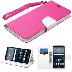 LG G Stylo Hot Pink Pattern/White Liner wallet with Lanyard