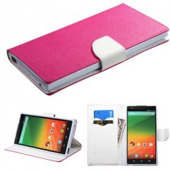 ZTE ZMax Hot Pink Pattern/White Liner wallet with Card Slot