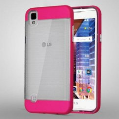 LG X Style / Tribute HD Metallic Electric Pink Frame/Transparent Brushed IceBox Hybrid Case