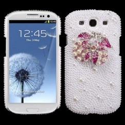 Samsung Galaxy S3 Delicious Cherry Pearl 3D Diamante Back Case