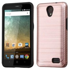ZTE Avid Plus / Maven 2 Rose Gold/Black Brushed Hybrid Case with Carbon Fiber Accent