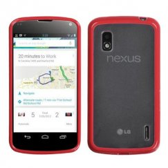 LG Nexus 4 Transparent Clear/Solid Red Gummy Cover
