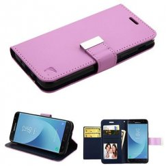 Samsung Galaxy J7 Purple/Dark Blue PU Leather Wallet with extra card slots (GE034) -WP
