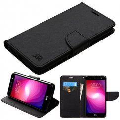 LG X Power 2 Black Pattern/Black Liner wallet with Card Slot