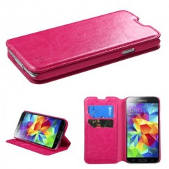 Samsung Galaxy S5 Hot Pink Wallet with Tray