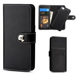 Apple iPhone 7 Black Detachable Magnetic 2-in-1 Wallet Back Cover Leather Folio Flip