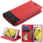 Motorola Moto E 2nd Gen Red/Black wallet with Card Slot