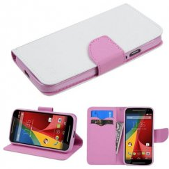 Motorola Moto G 2nd Gen White Pattern/Pink Liner wallet with Card Slot