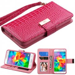 Samsung Galaxy Grand Prime Hot Pink Crocodile-Embossed Wallet