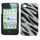 Apple iPhone 4/ 4S Full Diamond Crystal Couture Rhinestone Back Cover, Black Zebra Stripes
