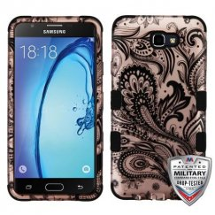 Samsung Galaxy On7 Phoenix Flower (2D Rose Gold)/Black Hybrid Case Military Grade