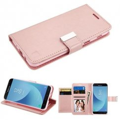 Samsung Galaxy J7 Rose Gold PU Leather Wallet with extra card slots (GE035) -WP