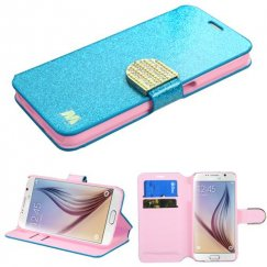 Samsung Galaxy S6 Blue Glittering Wallet with Diamante Belt