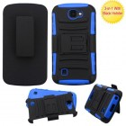 LG K3 Black/Dark Blue Advanced Armor Stand Protector Cover (With Black Holster)