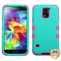 Samsung Galaxy S5 Rubberized Teal Green/Electric Pink Hybrid Case