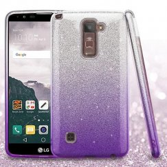 LG LG G Stylo 2 Plus Purple Gradient Glitter Hybrid Case