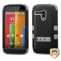 Motorola Moto G Natural Black/Iron Gray Hybrid Case with Stand