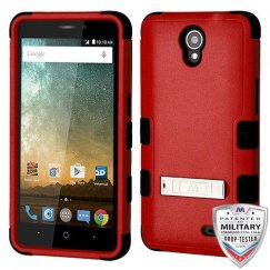 ZTE Prestige 2 Natural Red/Black Hybrid Case with Stand Military Grade