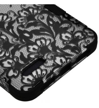 ZTE Grand X Max 2 Black Lace Flowers (2D Silver)/Black Hybrid Phone Protector Cover