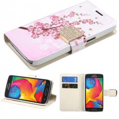 Samsung Galaxy Avant Spring Flowers Wallet with Diamante Belt