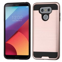 LG G6 Rose Gold/Black Brushed Hybrid Case
