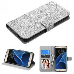 Samsung Galaxy S7 Edge Silver Diamante Wallet