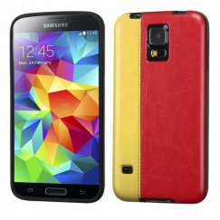 Samsung Galaxy S5 Yellow/Red Embossed Leather Backing Candy Skin Cover