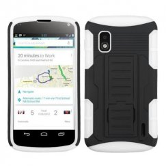 LG Nexus 4 Black/White Car Armor Stand Case - Rubberized