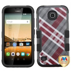 Huawei Union Y538 Maroon/Gray Diagonal Plaid/Black Hybrid Case