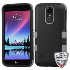 LG K10 Natural Black/Iron Gray Hybrid Case Military Grade