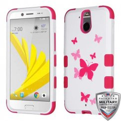 HTC Bolt Butterfly Dancing/Hot Pink Hybrid Case Military Grade