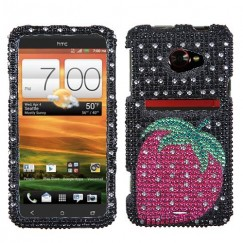 HTC EVO 4G LTE Hot Pink Strawberry Dots Premium Diamante Case