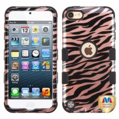 Apple iPod Touch (6th Generation) Zebra Skin/Black 2D Rose Gold/Black Hybrid Case