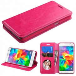 Samsung Galaxy Grand Prime Hot Pink Wallet with Tray