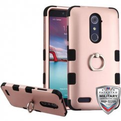 ZTE Grand X Max 2 Rose Gold/Black Hybrid Phone Case - Military Grade with Metal Ring Stand