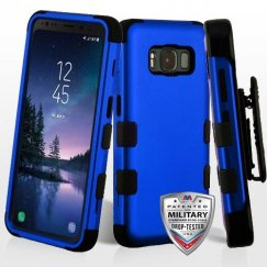 Samsung Galaxy S8 Active Titanium Dark Blue/Black Hybrid Case Military Grade with Black Horizontal Holster