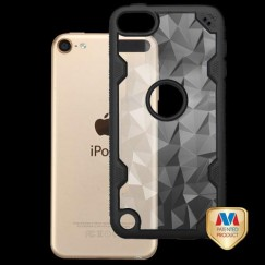Apple iPod Touch (6th Generation) Transparent Clear Polygon/Black Challenger Hybrid Case