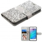 Samsung Galaxy J7 Silver Mini Crystals with Silver Belt Wallet