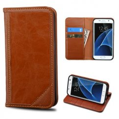 Samsung Galaxy S7 Edge Brown Genuine Leather Wallet