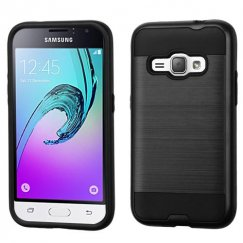 Samsung Galaxy J1 Black/Black Brushed Hybrid Case