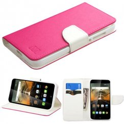 Alcatel One Touch Conquest Hot Pink Pattern/White Liner wallet with Card Slot