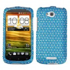 HTC One VX Dots(Blue/white) Diamante Phone Protector Cover