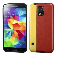 Samsung Galaxy S5 Yellow/Reddish Brown Embossed Leather Backing Candy Skin Cover