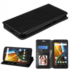Motorola Moto G4 / Moto G4 Plus Black Wallet with Tray